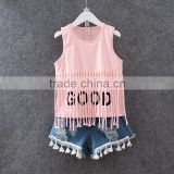 2016 latest design fashion kids wear baby girl vest shirt and denim shorts set