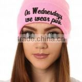 Unisex Ladies Cotton Slouchy Beret Plain Baggy Hat Ski Warm Beanie Cap pink