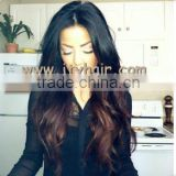 "Gorgeous! 22"" #1b#4 Loose Wave Ombre Color, Virgin Brazilian silk top aaaaa human hair full lace wig"