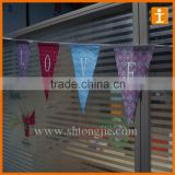 Colorful Fabric Triangle Flag Bunting , decorative flags on string