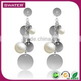 Wholesale Fashion Jewelry Stainless Steel Charm Pearl Fancy Design Hanging Earrings