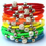 Lady PU Leather Cuff Wrap Wristband Magnetic Buckle Bracelet with Sliding Beads