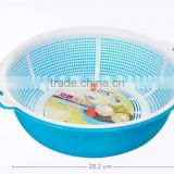 Kitchen plastic basket,fruit and vegetable plastic water seperate basket double wall basket