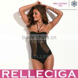 RELLECIGA Monokini - Half Cut-Out Black One-Piece Swimsuit with Adjustable Halter Strap