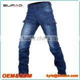 Men cheap denim washed casual hot motorcycle jeans pants