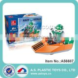 24PCS concrete block plastic row boat/steamboat toys