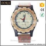 Top Quality Luxury Maple and Black Ebony Wood Watch with Cow Leahter Strap Quartz Men Wood Wristwatch