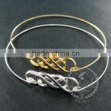 65mm diameter one end open 14K light gold,silver double infinity lover charm wiring fashion bangle bracelet 6490057