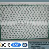 China factory suppling diamond hole 1.2m to 2.4m width anti climb hot dip galvanized solid steel frame welded razor mesh fencing