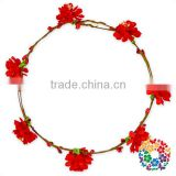 Lovely Sweety Red lily Festival Garland Adjustable Flower Wreath For Wedding