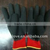 Welding gloves .13G Red Nylon with palm open back coated black Crinkle latex gloves , Knit wrist . latex gloves