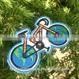 Custom high quality embroidered Green bike patch for clothes embroidery patch made in china choose size/color