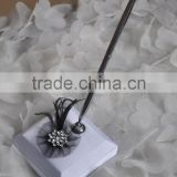 Latest design Pen Holder Ivory and black Fabric Party Supplier Wedding Pen Holder with feather tulle wedding decoration
