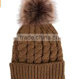 girls fashion fake fur bobble hat