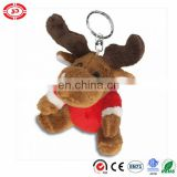 Xmas gift moose in red body holiday kids best love keychain toy