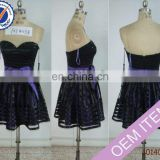 Short sweetheart black satin homecoming dress