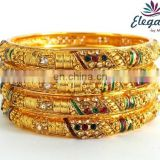 Bridal Bangle set - Wholesale indian gold plated bangles- One gram gold bangles-Bollywood kundan polki bangles