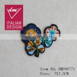 Embroidery flower with rhinestone and metal sequin patch