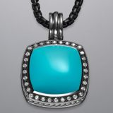 Sterling Silver Designs Inspired DY 17mm Turquoise Moonlight Ice Pendant Enhancer