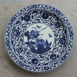 Blue and white porcelain hand painted waterlily Ceramic Plate