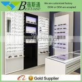 stylish cool white easy mount wall eyeglass display for optical store
