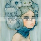 Speicial Design A Girl Has Many Cats on Her Hair Handmade Nude Girl Oil Painting on Canvas