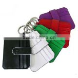 Leather slim card wallet with keyring