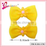 Handmade korean grosgrain hair bow cheap plastic hair clips