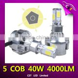 factory direct sale, H7 40W 4000 lumens brightness bulbs 40w motorcycle led headlight with 5 sides emiting