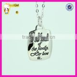 Cheap fashion jewelry pure silver necklace wholesale custom black words love silver necklaces