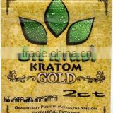 OPMS Kratom botanical extract gold printing plastic ziplock bag for cannabinoids kratom capsules/mitragyna speciosa leaf extract