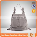4755 China Backpack wholesaler Punk Style Ladies Top Fashion Grey Good Quality PU Backpack Bag