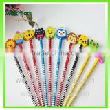 Cartoon wooden Pencil sets Children animal Pencil with eraser topper