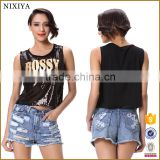 Factory Low Price Dance Beaded Printed Sleeveless Crop Tops