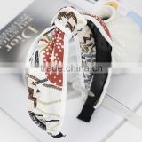 lovely floral printed knot fabric covered wide plastic headband hair accessories
