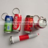 Novelty plastic easy openning tin ballpoint pen with key chain                                                                         Quality Choice