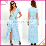 New design ivory and navy blue print woven rayon wrap long maxi dress women 2016
