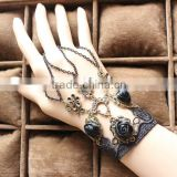 Vintage style chain bracelet black lace rose flower bracelet hand bracelets                                                                         Quality Choice
