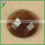 HS-42 loose coffee flat bottom round faceted synthetic glass cat eye semi precious beads