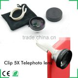 mobile phone universal telephoto lens circular clip 5x optical zoom lens for iphone 6 plus HTC one m7 m8 m9 samsung galaxy s6 s5