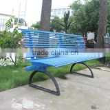 Outdoor street furniture bench with wrought iron bench legs