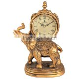 clocks home decoration resin desk clock antique brass table clock elephant design happy gold resin clock
