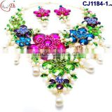 CJ1184-1 colorful flower gold plating with rhinestone pear jewelry set for wedding party Africa beads jewelry set