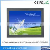 Metal Case 4:3 Display VGA DVI Input 9.7 inches lcd panel tv 12 volts industrial monitor