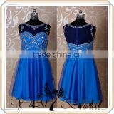 RSE263 Gorgeous Knee Length Royal Blue Bridesmaid Dresses With Rhinestones