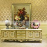 Antique European Style Living Room TV Stand, Gold Trim Floral Design Decorative TV Stand with Cabinets and Drawers
