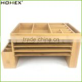 Bamboo desk caddy office sorter & Organizer Homex-BSCI Factory