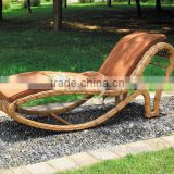 Hot sale 2015 fancy high heel style PE round rattan aluminum frame patio sun lounge with waterproof cushion