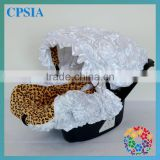 2015 White And Leopard Print Infant Car Seat Cover Rosette Canopy Cover For Baby Plastic Booster Seat