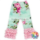 Lovely Blue Floral Baby Pants With Pink Ruffles Infant Toddlers Ruffle Legging Pants Girls Icing Ruffle Pants